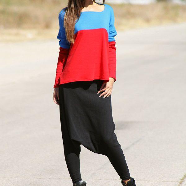 Дамска блуза в синьо и червено
