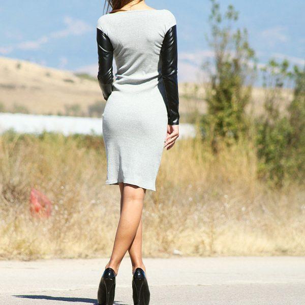 Дамска рокля с кожени ръкави